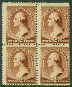 EDW1949SELL : USA 1883 Sc #210 Blk of 4. Mint Never Hinged. PO Fresh. Cat $540++