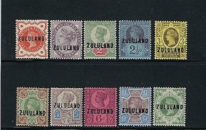 ZULULAND SCOTT #1-10 1888-93 VICTORIA DEFINITIVES- MINT NEVER/ LIGHT HINGED