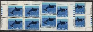 Canada USC #1173 Mint 1988 57c Killer Whale MS of Imprint Blocks - NH