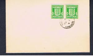 GUERNSEY  PAIR 1/2d LIGHT GREEN  ON FDC
