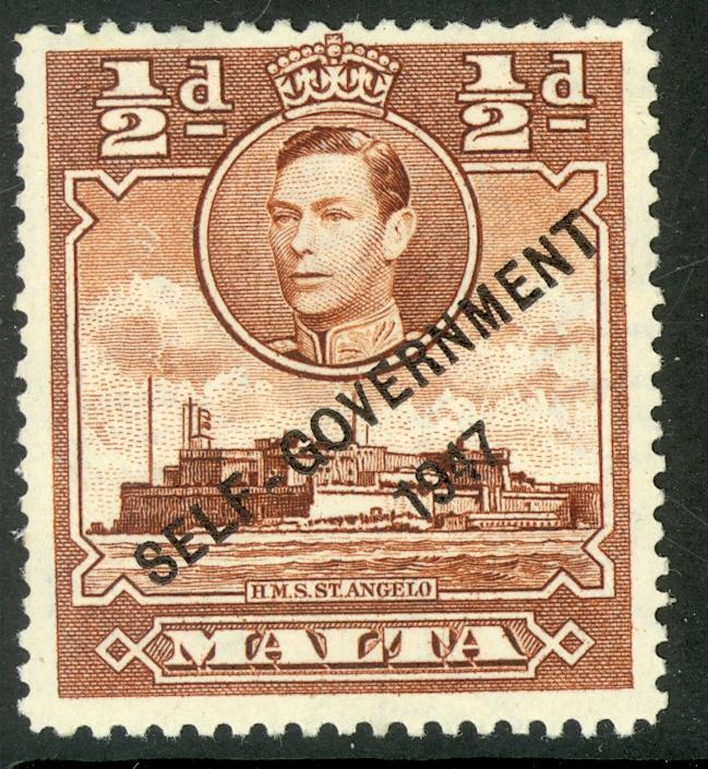 MALTA 1948 KGVi 1/2d SELF GOVERNMENT OVPT Issue Sc 209 MH