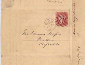 GB RAILWAY Lancs Wigan Hindley *L&YR* Lettersheet Aspull Shop Keeper 1861 BA163