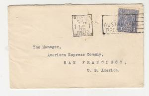 AUSTRALIA,1935 Bank NSW cover, KGV 3d. Blue,SYDNEY OVERSEAS BOX machine to USA