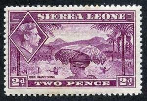 Sierra Leone SG191 KGVI 2d Mauve Wmk Mult Script CA S/ways M/M