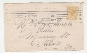 VICTORIA, 1907 Tatt's cover, 4d., MELBOURNE machine to Fred Smale, Hobart..