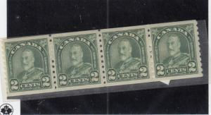 CANADA  # 180 VF-MNH  2cts  KGV ARCH LEAF COIL /STRIP OF 4/DL GRN CAT VALUE $64