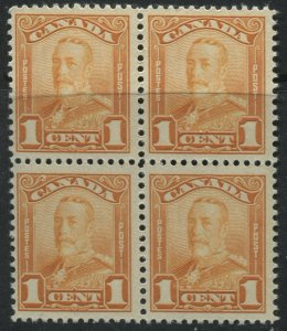 Canada KGV 1929 1 cent block pf 4 mint o.g., 3 stamps are NH
