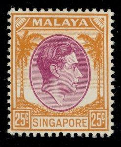 SINGAPORE GVI SG10, 25c purple & orange, M MINT.