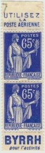 FRANCE - 1937 Paire avec Pubs Poste Aérienne/BYRRH Yv.365b 65c Paix sans gomme