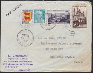 FRANCE 1952 airmail cover to USA...........................................70247