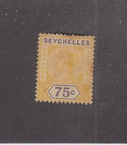 SEYCHELLES (MK6353) # 17 F-MH  75c  1900 QUEEN VICTORIA / YELLOW & PURPLE CV $70