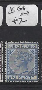 TURKS ISLANDS (P1805BB)  QV  2 1/2D   SG 65      MOG