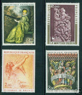 FRANCE Scott 1359-62 MNH** Art Painting and Sulpture
