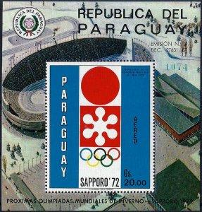 1970 Paraguay Olympics Sapporo, Emblem, Sheet Nr. 150 VF/MNH! CAT 39$