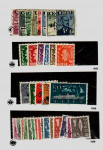 Norway #259 to 266, 345 to 347, 349 to 352, 382 to 386, 416 to 430 All Used and