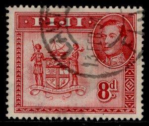 FIJI GVI SG261d, 8d carmine, FINE USED.