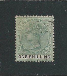 LAGOS 1887-1902 1s BLUE-GREEN & BLACK FU SG 38a CAT £40