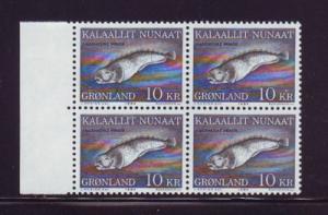 Greenland Sc 137 1984 10 kr fish stamp block of 4 mint NH
