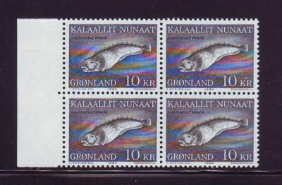 Greenland Sc 137 1984 10 kr fish stamp block of 4 mint NH