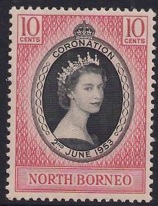 North Borneo 1953 QE2 10ct Coronation MM SG 371 ( R1162 )