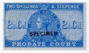 (I.B) QV Revenue : Probate Court 2/6d (specimen)
