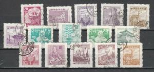 South Korea, Scott cat. 268-282. Definitive issue.  Canceled.