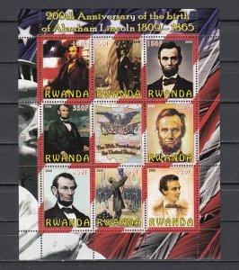 Rwanda, 2009 Cinderella issue. President Abraham Lincoln sheet. ^