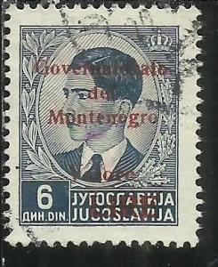 OCCUPAZIONE ITALIANA MONTENEGRO 1942 GOVERNATORATO RED OVERPRINTED SOPRASTAMP...