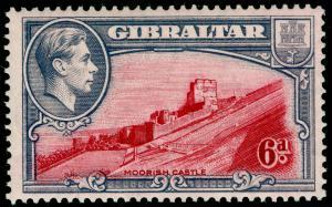 GIBRALTAR SG126, 6d Carmine & Grey Viole PERF 13½, LH MINT. Cat £48.