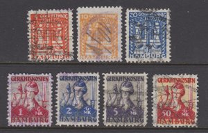 Germany, Hamburg, 1924 Gold Mark denominated Court Fee Revenues, 7 diff, sound