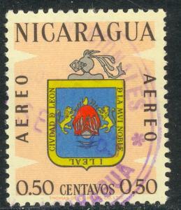 NICARAGUA 1962 50c CITY ARMS Airmail Sc C511 VFU