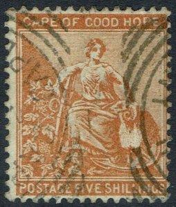 CAPE OF GOOD HOPE 1882 HOPE SEATED 5/- WMK CROWN CA USED
