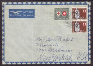 Switzerland to New York,NY 1957 Airmail Cover