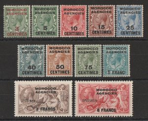 MOROCCO AGENCIES French Currency : 1917 KGV Seahorses set, UPU 'specimens'