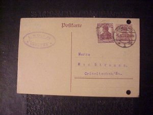 1917 GERMAN POST CARD FROM L. WOLF JR. OF HAMBURG TWO GERMANIA 15 PFENNIG STAMPS