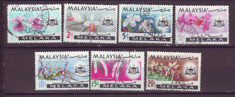 J18015 JLstamp  [low price] 1965 malaya melaka set used #67-73 flowers
