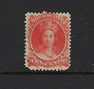 NOVA SCOTIA SCOTT #12 1860-63 VICTORIA 10 CENT (VERMILION)- USED
