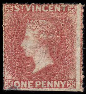 St. Vincent Scott 2 (1862) Mint H NG G, Cat. Value $57.50