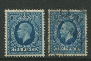 Great Britain #219 MLH/Used 1934 2 Single 10p Stamps