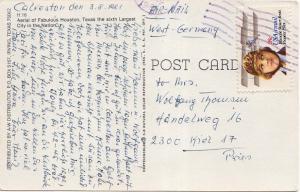 Airmail Issues 28c Scott 1981 [Galveston, Tex.] PPC Airmail to Kiel, Germany.