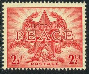 AUSTRALIA 1946 KGVI 2 1/2d WW2 PEACE AND VICTORY Sc 200 MNH