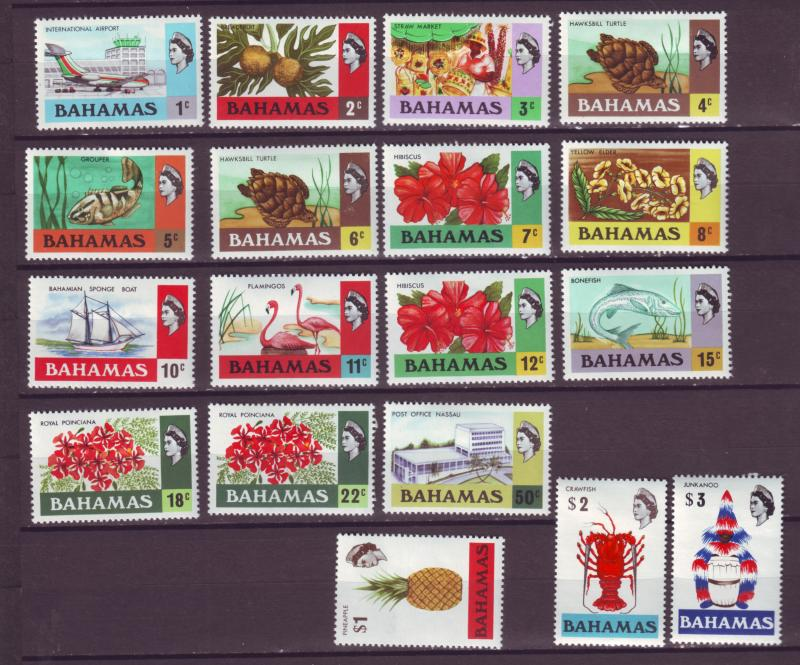 J16144 JLstamps 1971 bahamas set mh/several mhr #313-30 queen views