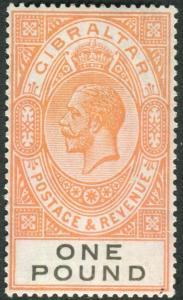 GIBRALTAR-1927 £1 Red-Orange & Black.  A lightly mounted mint example Sg 107