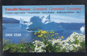 Greenland Sc 91a, 130a 1989 Queen stamp booklet panes in booklet mint NH