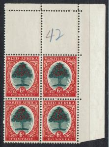 SOUTH AFRICA 1933 ORANGE TREE 6D BLOCK HYPHENATED TYPE III MNH **