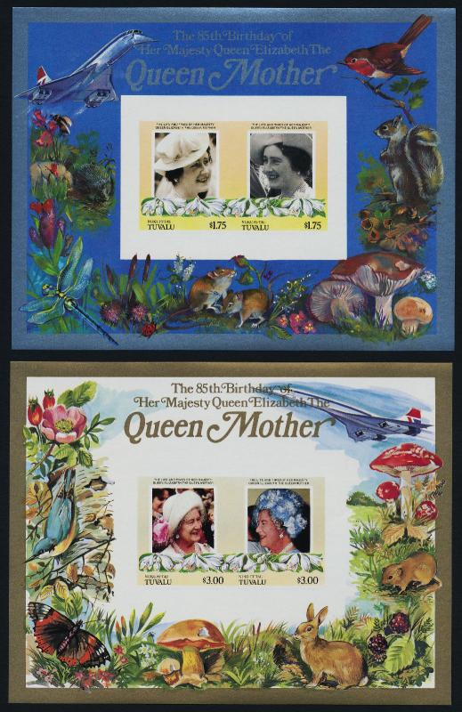 Tuvalu Nukufetau 49-50 imperf MNH Queen Mother 85th Birthday, Concorde, Flower