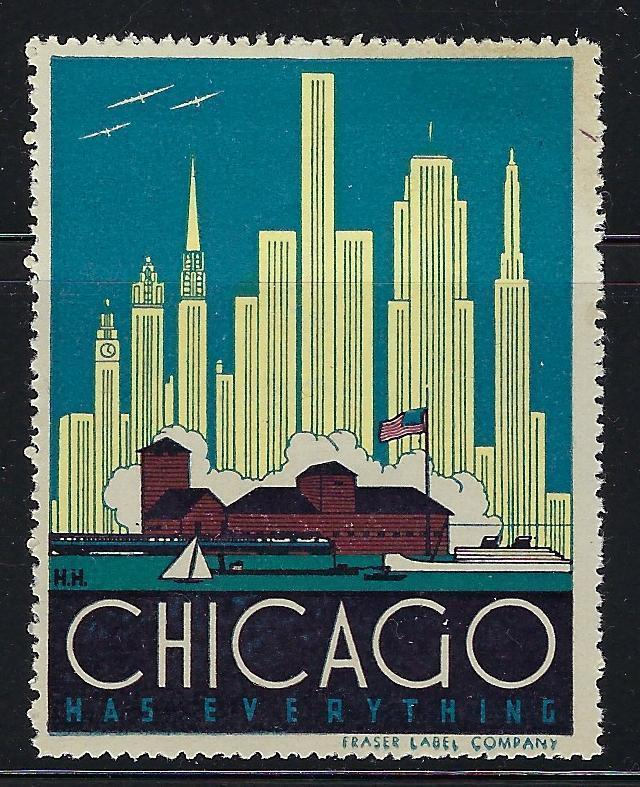 VEGAS- Vintage Chicago Has Everything Promotional Poster Stamp (CQ123)