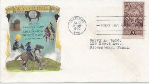897 FDC, Hand Colored Cache, Wyoming Statehood Anniv., Free Insured Shipping;
