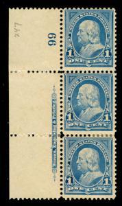momen: US Stamps #247 Mint OG NH/LH Plate Strip of 3 VF