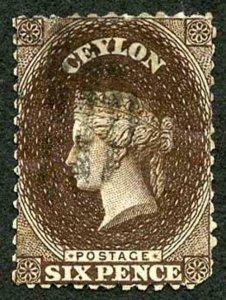 Ceylon SG55cw 6d Red-brown Wmk Crown CC Reversed Used